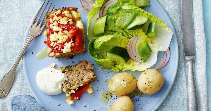 Fetta and olives add a Mediterranean twist to these mini meatloaves.