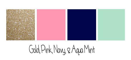 sangria, navy, gold color scheme | colors01. Instead of Mint... Gray.