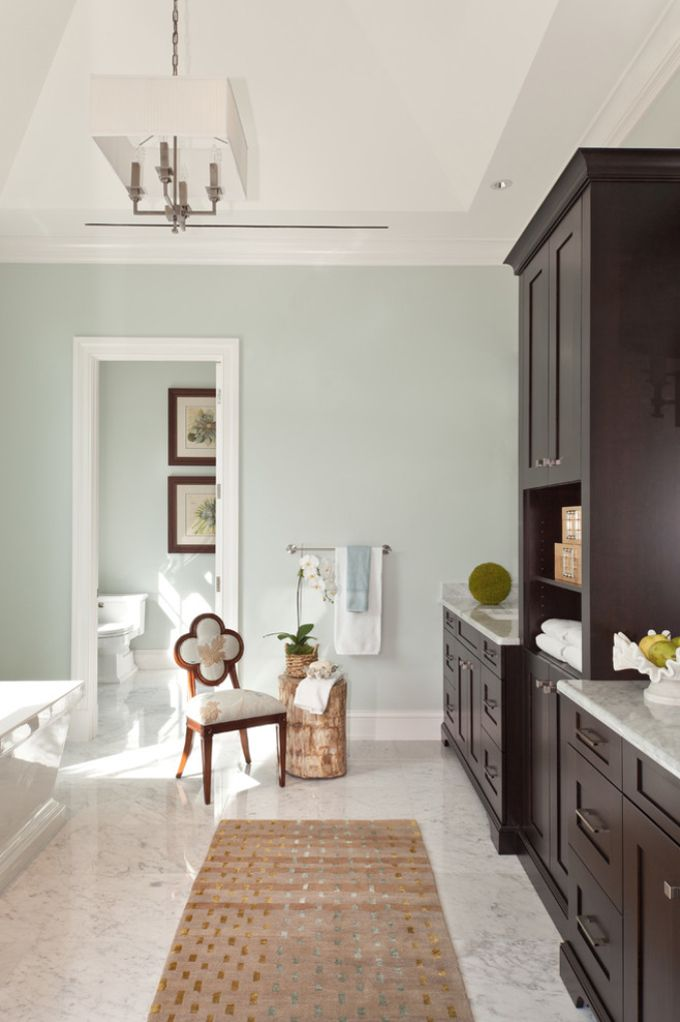 marvellous green white blue bathroom | Beautiful soft blue green in the master bath. designed by ...