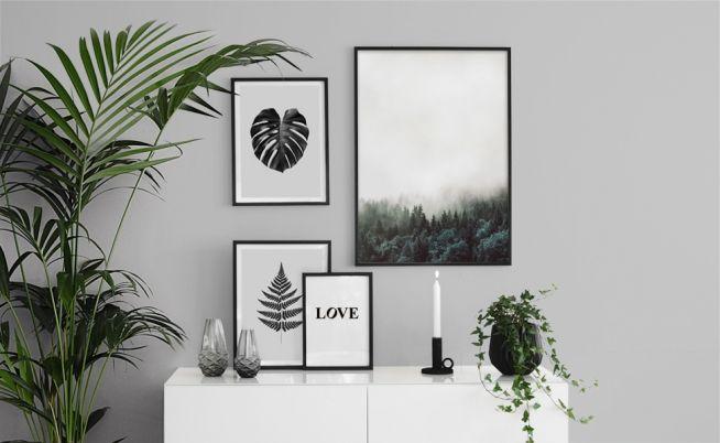 Inspiration till tavelväggar och tavelcollage. Posters och prints med natur. Skog och blad