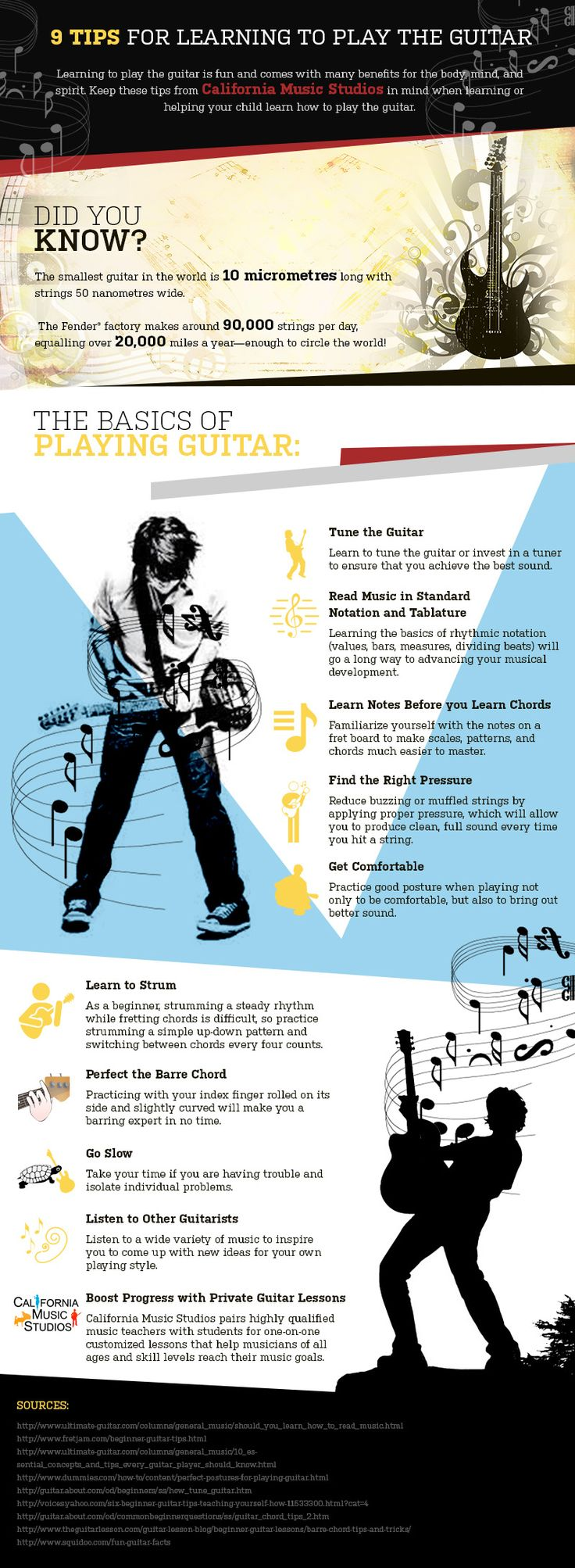 9 Tips For Learning To Play The Guitar (Infographic) Description: Successfully learning how to play the guitar is within your grasp. These 9 tips are a great starting point for those who want to learn to play the guitar.