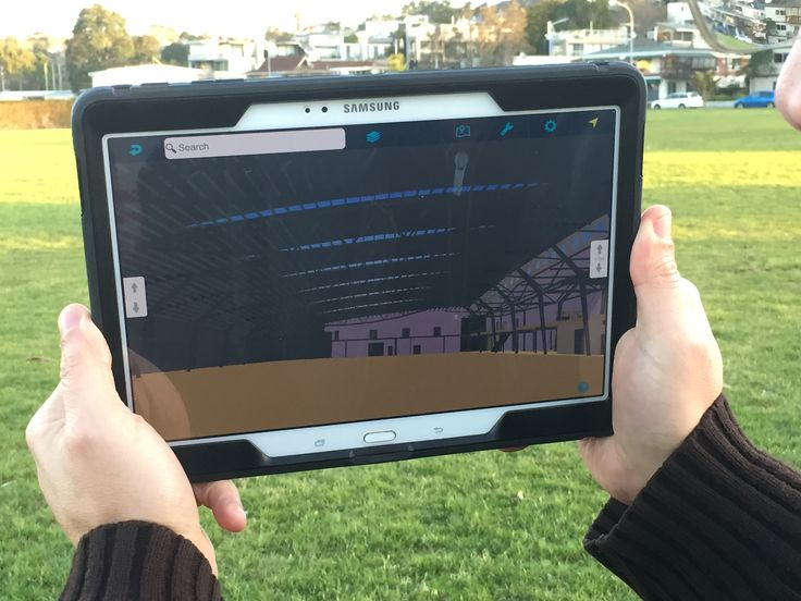 The Wellington Kilbiernie Sports Stadium as a 250.000 polygon model positioned with Augview in the Vellenoweth Green Park in St Heliers, Auckland.  Because Augview is geospatial AR, the user is able to walk through the building as is it was there.