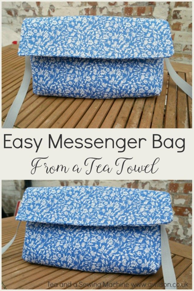 tea towels are not just for wiping dishes! This step by step tutorial shows you how you can easily and quickly make a lined messenger bag from 2 tea towels.