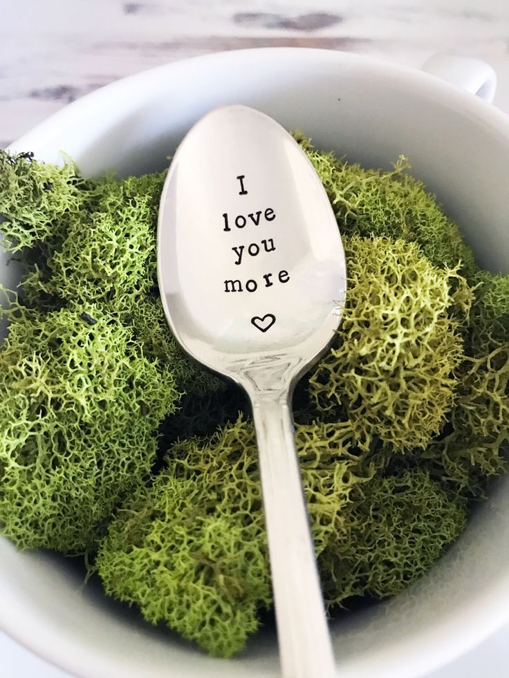 I Love You More Spoon w/ Heart - Hand Stamped Spoon, Anniversary, Gift, Present, I love you, Love gift, Birthday, Valentine's day, Coffee by SweetMintHandmade on Etsy https://www.etsy.com/listing/512613189/i-love-you-more-spoon-w-heart-hand
