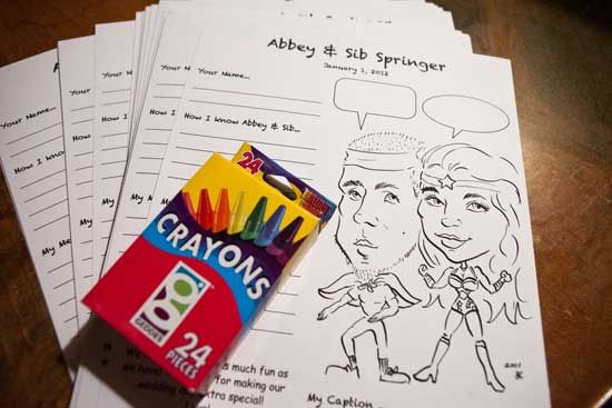 maybe you can do this since igor can draw naman    Another guestbook alternative: have your guests fill out fun questionnaires about how they met the two of you.