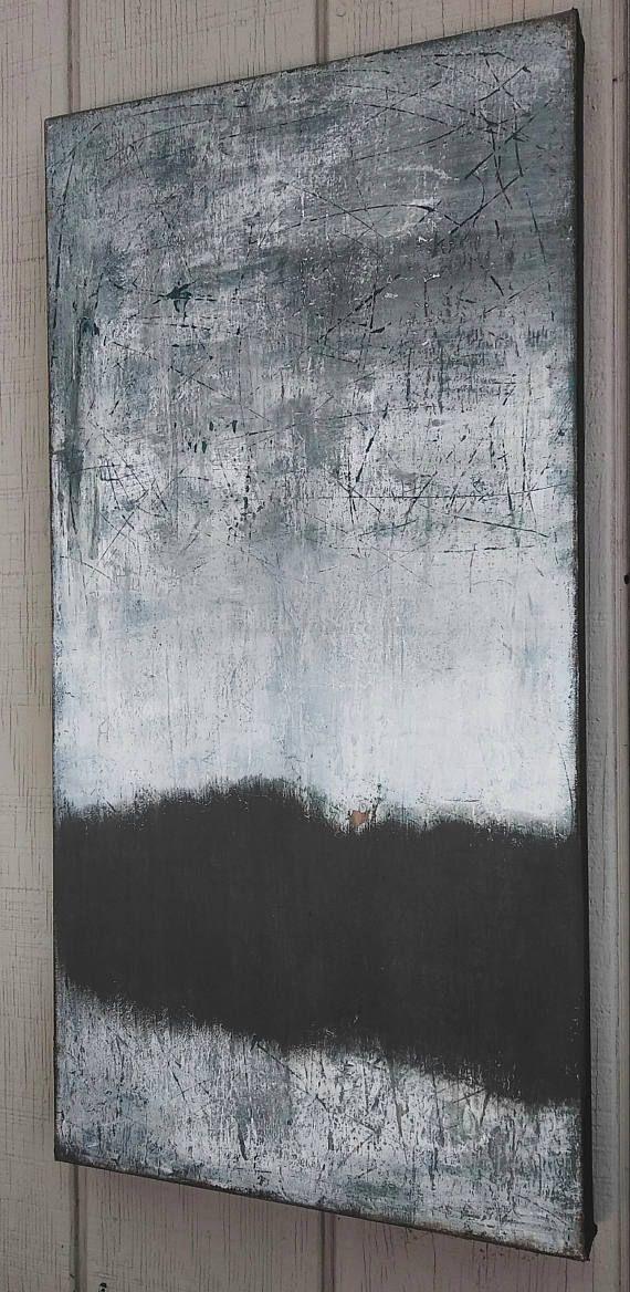 Original Minimalist Abstract Landscape Painting Gray Modern