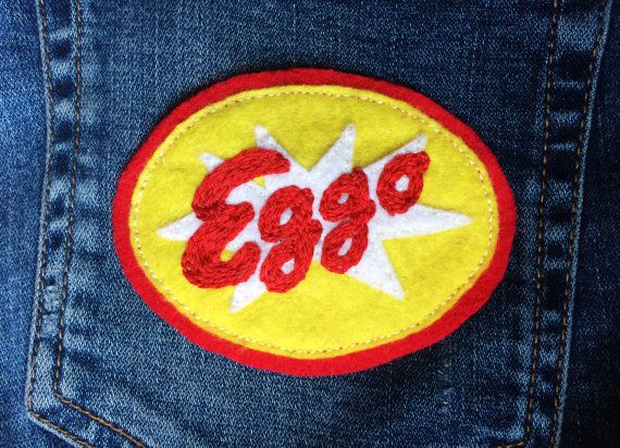 Stranger Things Eggo Waffle Felt Embroidered Sew-On by CrimsonPins