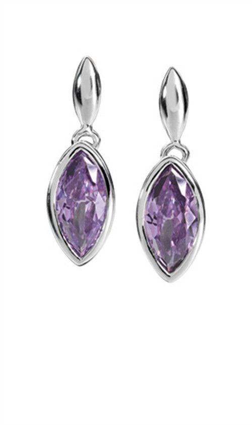 Fiorelli Sterling Silver Earrings Purple Teardrop - yourgifthouse