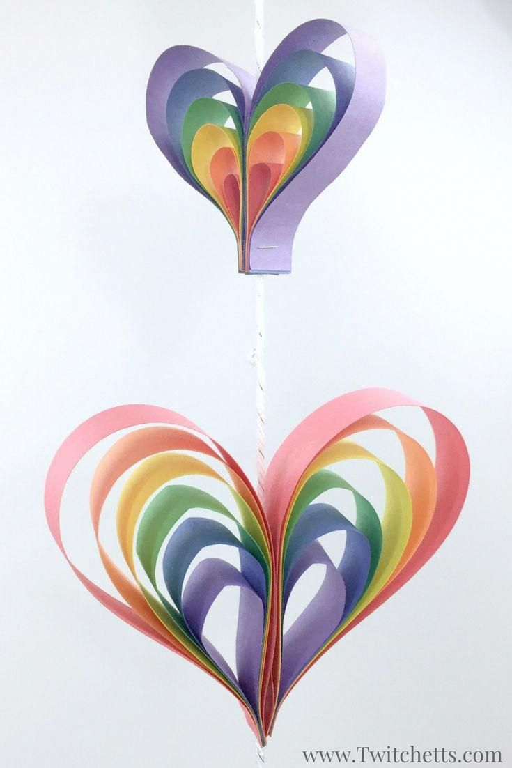 How To Make A Fun 3d Heart Mobile Out Of Paper Valentine S Day