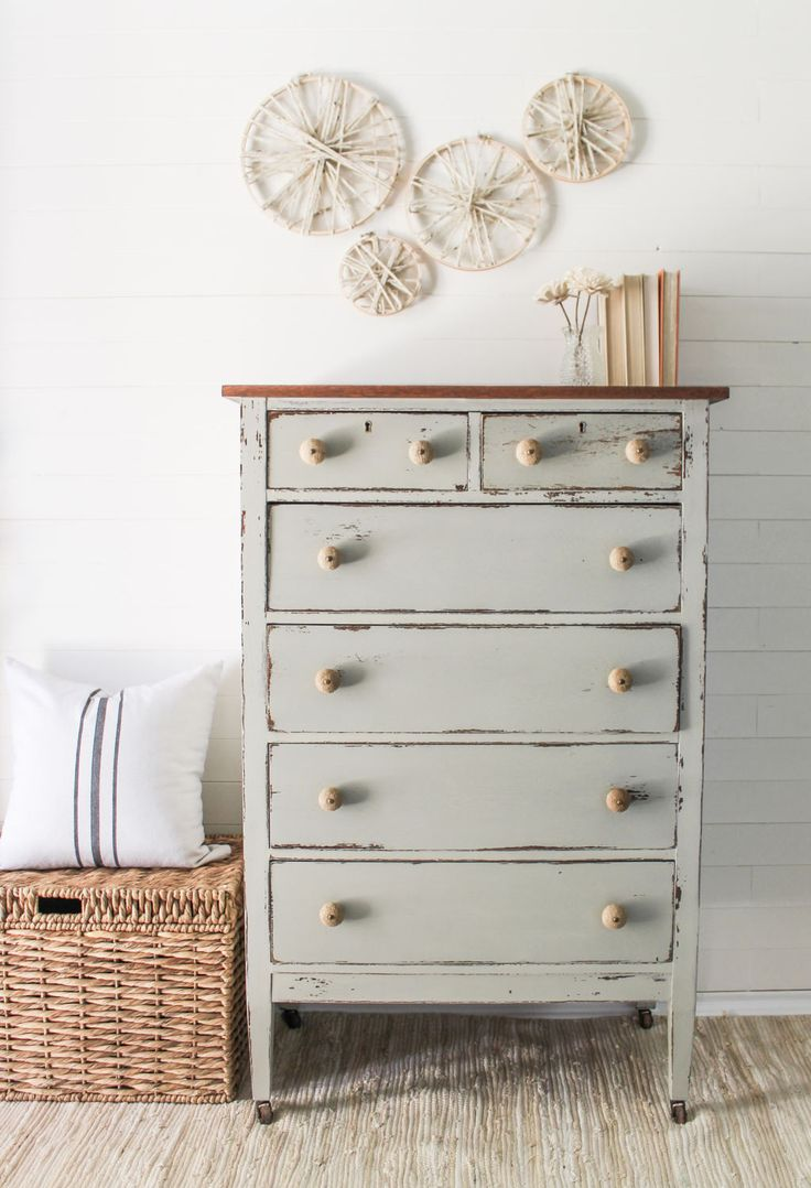 Antique Chest Of Drawers Painted In Bedford Refinished Tall Dresser Linen Neutral Color Coastal
