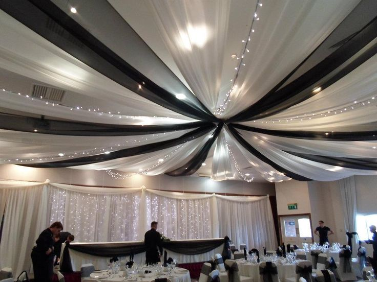 Best 25 ceiling draping wedding ideas on pinterest ceiling wedding black and white ceiling draping ceiling drapes black and white fairy lights beautiful solutioingenieria Images