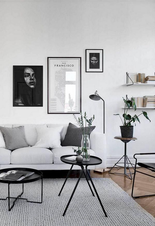 Scandinavian Style Home Interior Design Black White Gray Carpet Livingroom Minimalist Living Room Decor Living Room Scandinavian Minimalist Living Room Design