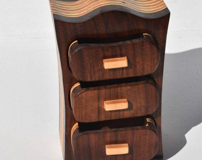 Walnut jewelry box. Bandsaw box. Unique jewelry box. Plywood bandsaw box. Three drawer box. Custom jewelry box. Keepsake box. Trinket box #ad