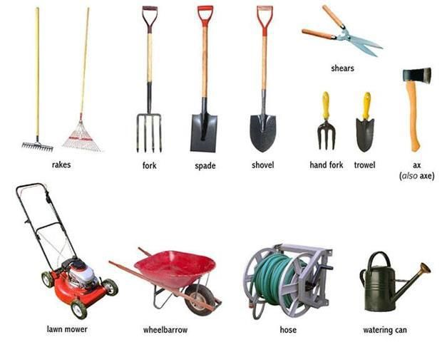 Garden tools visual vocab everyday actions weather for Gardening tools vocabulary