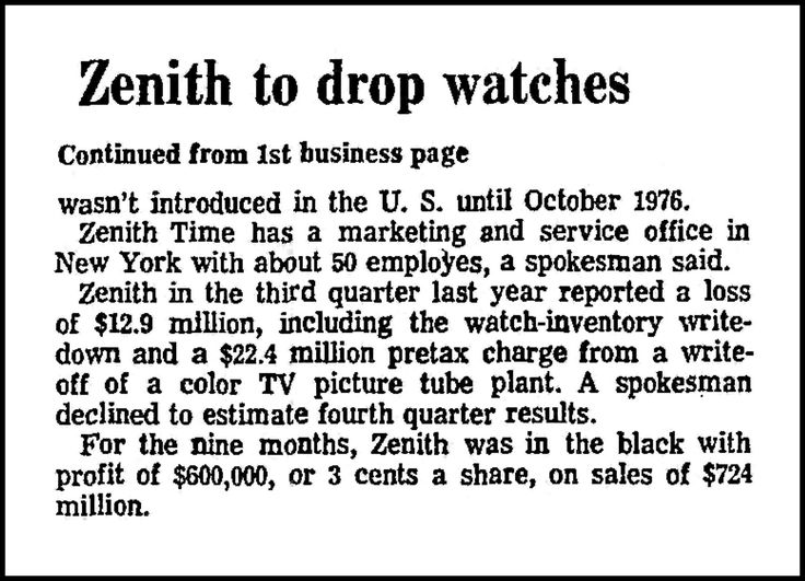 https://flic.kr/p/21ARQ8H | Zenith Watches' 11th Hour (Part 2 - Zenith To Drop Watches), An Article In The Chicago Tribune Newspaper, January 19, 1978