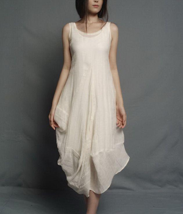 Irregular Rose Bud Hem Sleeveless Linen Dress-zenb.com SKU aa0365