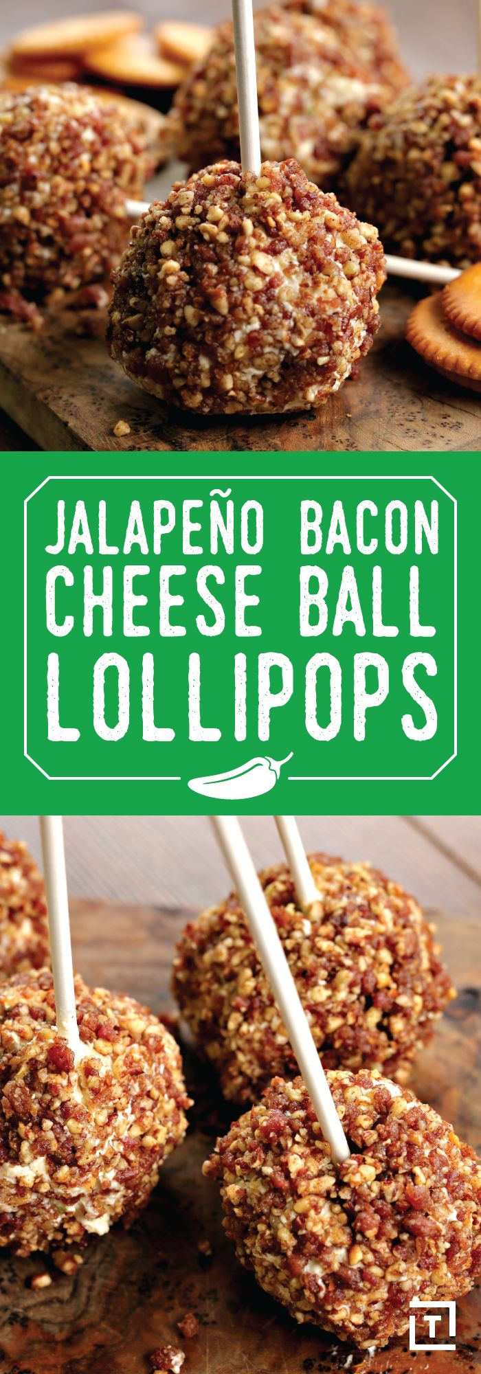 For whatever reason, finger food becomes all the more appetizing when served on a stick -- it can double as aesthetically pleasing grab-and-go fare, or as accessible and classy hors d'oeuvres. Whichever you prefer, it's safe to say you'll be a sucker for Twisted's jalapeño, bacon & cheese ball lollipops. Don't be fooled by the unfussy recipe: these little spheres might be small, but they boast robust flavor, striking the perfect balance between crunchiness and creaminess.