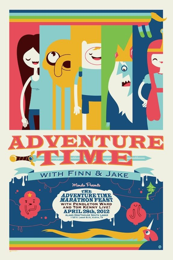 Exclusive: Check out Mondo's Adventure Time poster by Dave Perillo! - Ain't It Cool News: The best in movie, TV, DVD, and comic book news.
