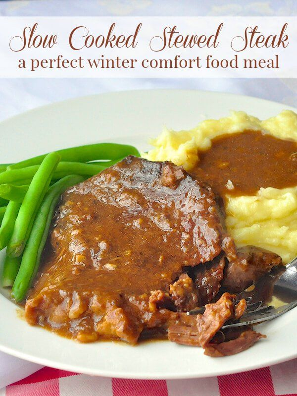 This stewed steak is a satisfying, cold weather comfort food meal at any time of year; it slow cooks in the oven for a few hours as the meat tenderizes & forms its own gravy.