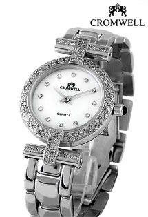 Reloj de oro blanco con mecanismo de cuarzo suizo. Reloj Cromwell para mujer con bisel de diamantes en talla brillante alrededor de la esfera y los nexos con la correa.