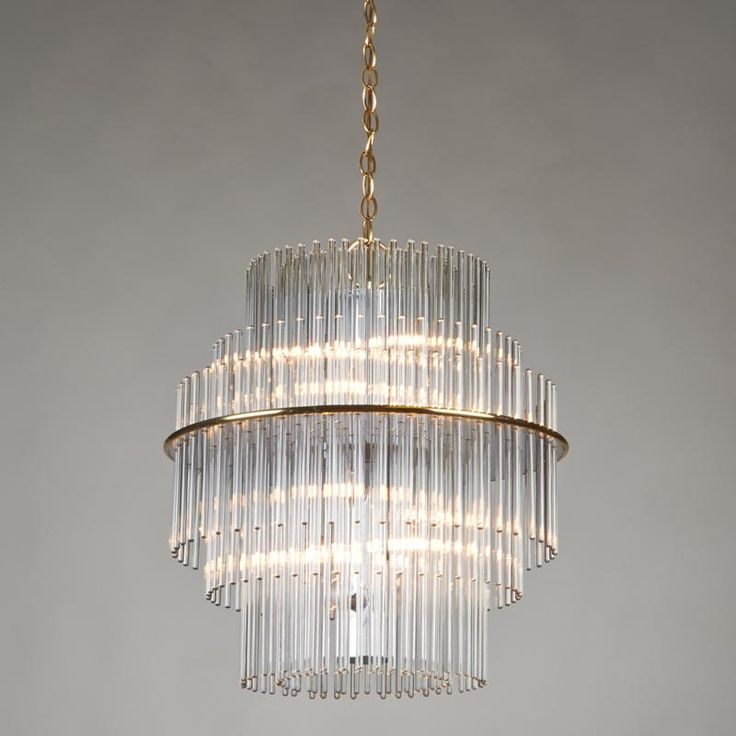 GAETANO SCOLARI; LIGHTOLIER - Tiered glass rod chandelier Polished brass Italy, 20th c.