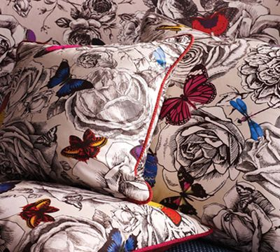 Osborne and Little online shop Butterfly Garden F6565, Fabrics, Curtain, Nature, Animal, Cotton, Osborne and Little - worldwide shipping, Ethnicchic.com - Ethnic Chic - Home Couture