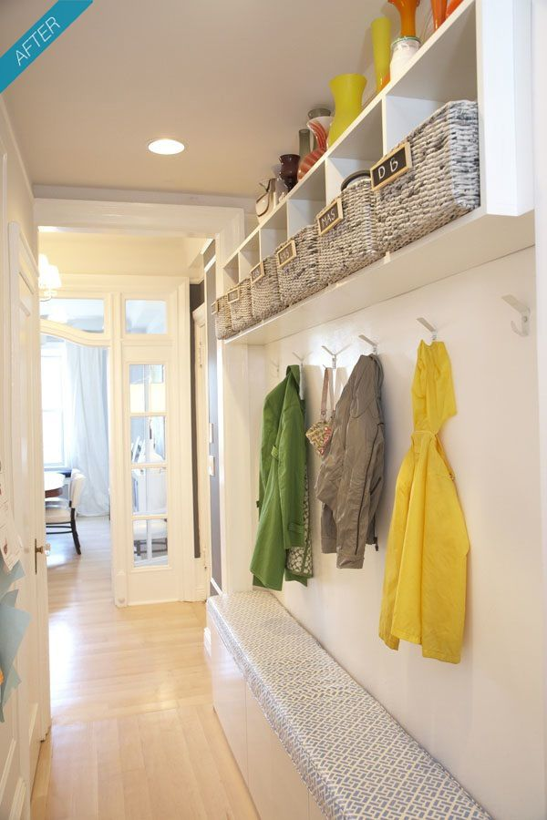 mudroom storage - love the hooks and cubbies- another option that could work in our narrow hallway