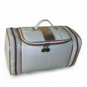 White Colour Cosmetic Bag with Gold Detail