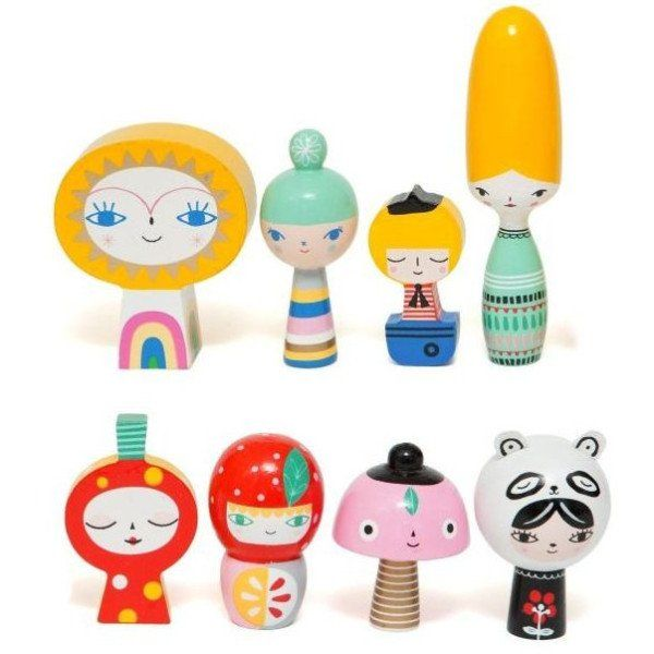 Meet Mr Sun & Friends, a set of 8 handmade wooden dolls. Let's introduce the ladies, the largest Miss Beehive, mushroom, strawberry, Panda girl & Bloom. Mr Sun and his male friend Little sailor. Mr su