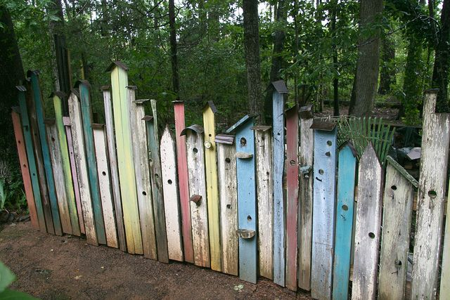 "Birdhouse Fence - interesting ... I always ""see"" birdhouses when I look at a picket fence anyway"