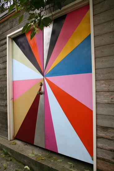pinwheel painted garage door