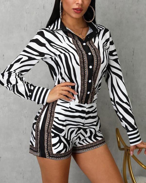 Lässige Arbeitskleidung Langärmlige Tops und Shorts mit Zebradruck   – messi shop
