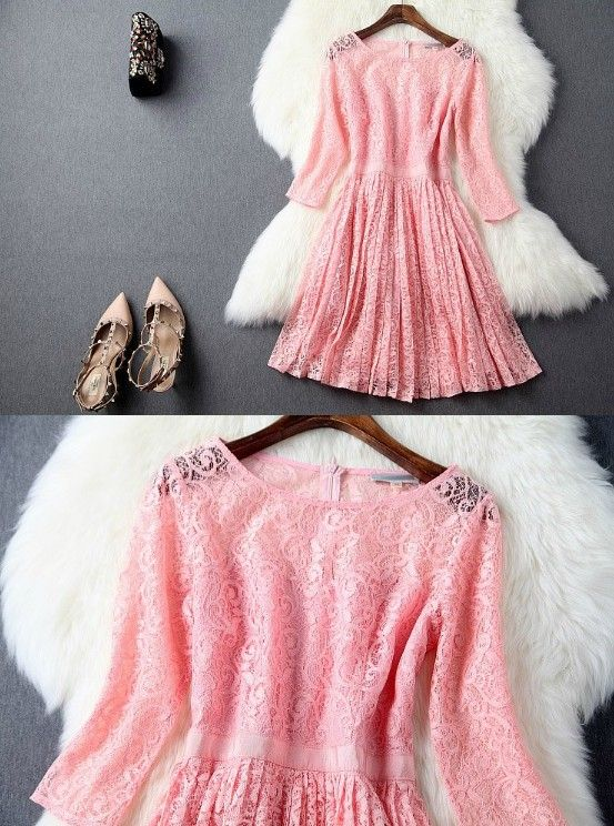 Lace Pleated Ball Gown Dress in Black Pink and Grey