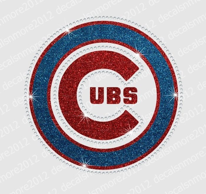 MLB - Chicago Cubs - Bling - Iron-on Glitter Vinyl & Rhinestone Transfer #Unbranded