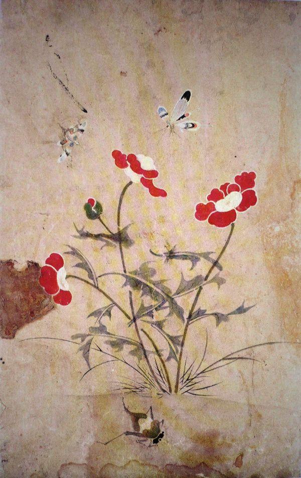 (Korea) 양귀비꽃과 호랑나비 by Lady Shin Saimdang (1504-1551). ca 16th century CE. Joseon Kingdom, Korea. colors on paper.