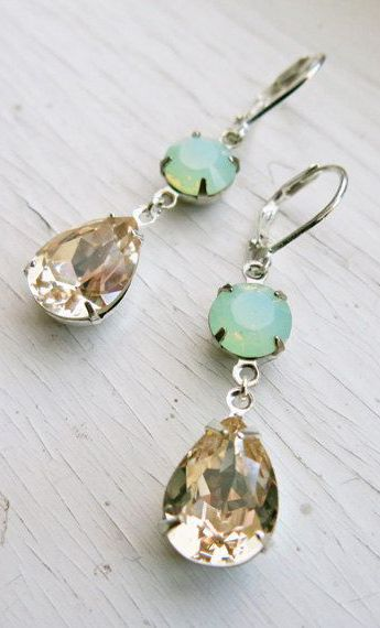 Mint Champagne Earrings Wedding Jewelry Bridal