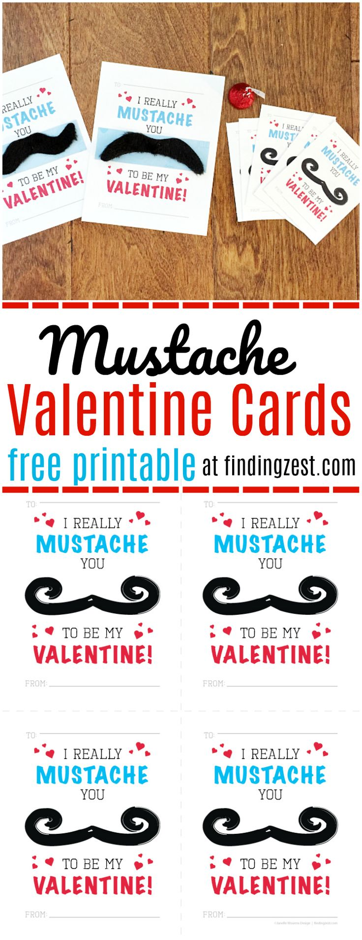 """This Mustache Valentine Cards Free Printable is the perfect classroom valentine for your child this year. With two sizes available, this """"I Really Mustache You to Be My Valentine"""" card printable includes optional instructions for adding fake mustaches to your valentines. Kids will love these mustache valentines!"""