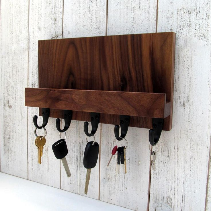 Excited to share the latest addition to my #etsy shop: Mail and key holder, wall key rack, mail shelf, key storage, leash hanger, mail organizer, wooden key hanger, walnut wall rack. http://etsy.me/2nLgPBp #furniture #storage #brown #housewarming #valentinesdaygift