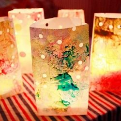 Festive, scented luminaries from lunch bags and old crayons