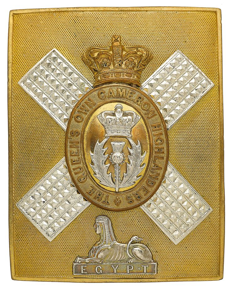 British; The Queen's Own Cameron Highlanders, Officer's shoulder belt plate, 1881-1901