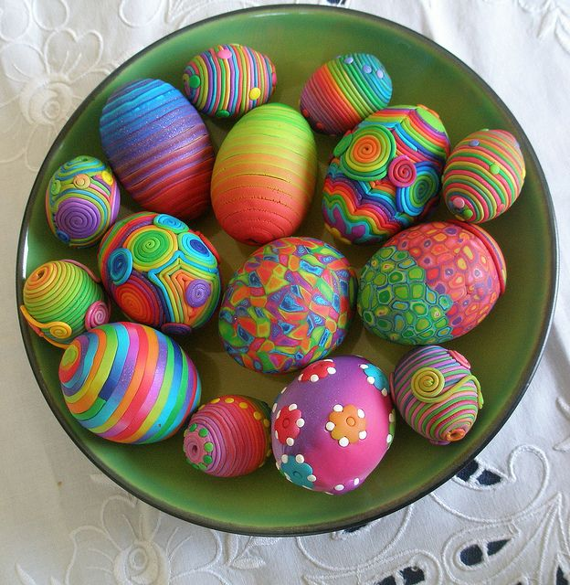 Need inspiration? Greece's Klio Tsaliki shows bowls and baskets full of polymer covered eggs in spring colors