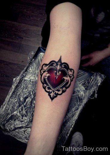 Heartagram Tattoo On Elbow-TB1060
