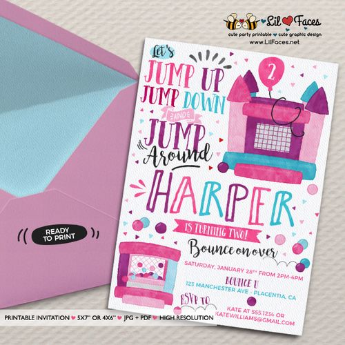 Girls Pink Purple Bounce House Birthday invitation Girly jump Birthday invitations Printable Watercolors birthday invitations bouncy house - Printable DIY Invitation - Personalized Invite card DIY party printables will save you time and money while making your planning a snap!