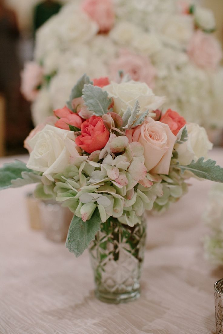 Pink and green centerpiece
