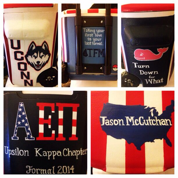 Finished my boyfriend's frat cooler for AEPi formal! #merica #paintedcooler #fra…  – Things I like