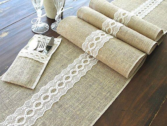 Arpillera mesa corredor boda mesa corredor con chic rústico de la italiana encaje vintage crema, hecha a mano en los E.e.u.u.