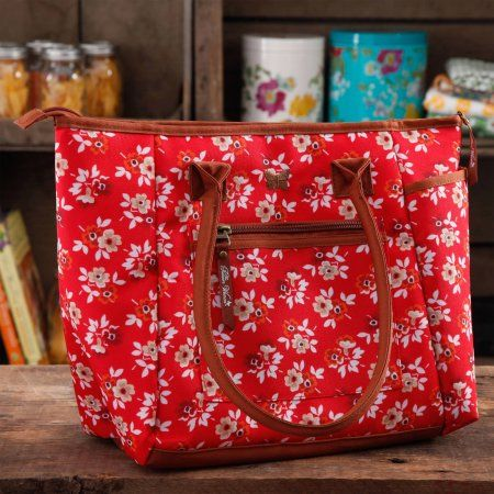 I like the BLOOM DOT PATTERN best.  The Pioneer Woman Lunch Tote with Water Bottle, Multiple Colors - Walmart.com