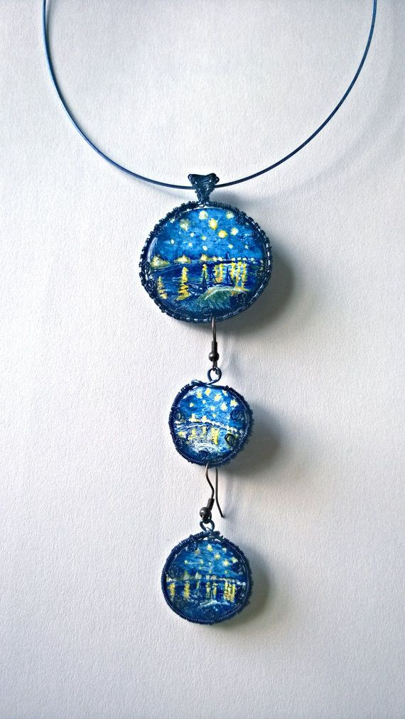 Hand Painted Blue Necklace Painted Wire by PeculiarBoutique