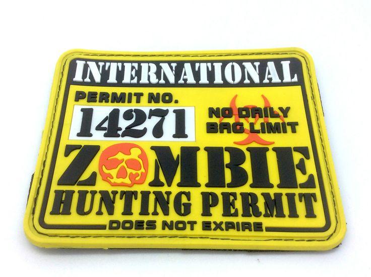 Klett Patch International Zombie Hunting Permit Gelb PVC Groß Weich Groß   eBay
