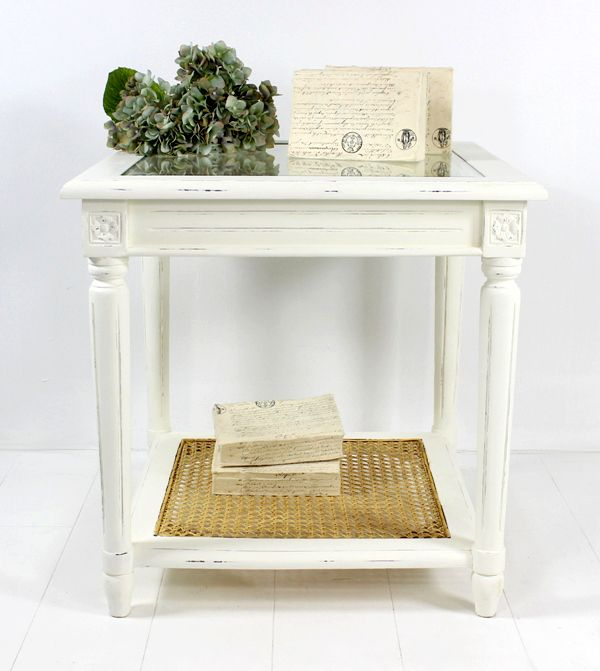 Toulouse Side table 55x55cm antique White at Villa Maison